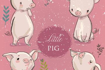 4款可爱手绘小猪矢量素材