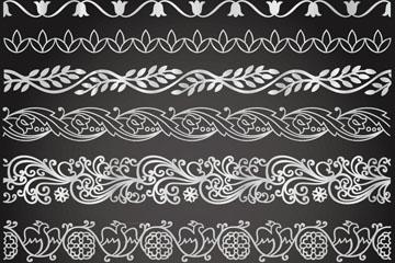 8款白色花纹花边矢量素材