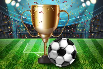 精美足球场奖杯和足球矢量素材