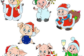 7款卡通小猪设计矢量素材