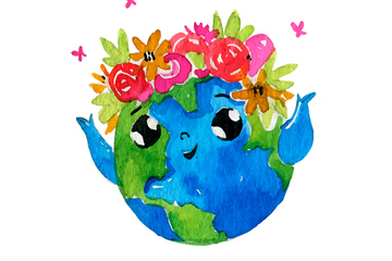 水彩�L戴玫瑰花的地球矢量�D