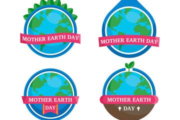 4款扁平化世界地球日丝带标签矢量图