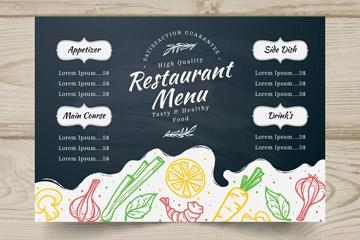 彩绘蔬菜餐馆菜单设计矢量素材
