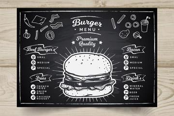 创意汉堡包店黑板画菜单矢量素材