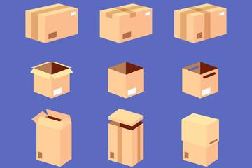 9款创意纸板箱设计矢量图
