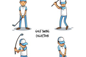 4款创意高尔夫男子动作矢量素材