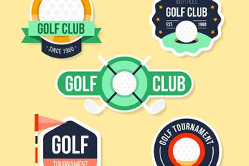 5款纸质高尔夫俱乐部标签矢量图