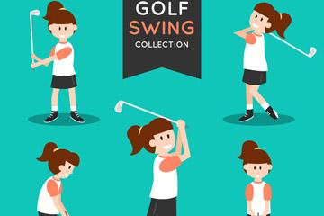 5款卡通高尔夫女子动作矢量图