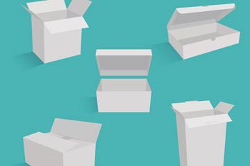5款白色立体纸板箱矢量图