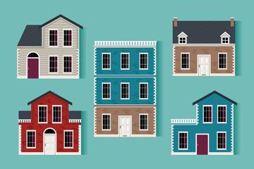 5款质感房屋设计矢量素材
