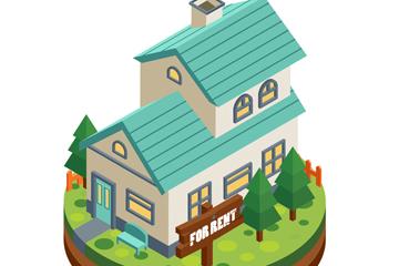立体蓝色屋顶出租房屋矢量素材