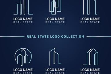 6款白色抽象房地产标志矢量图