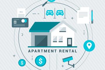 创意公寓出租信息图矢量素材