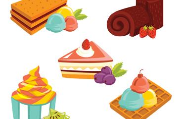 5款卡通甜品设计矢量素材