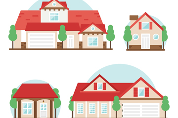 4款红色屋顶住宅设计矢量图