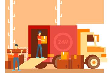创意快递运输车和快递员矢量图