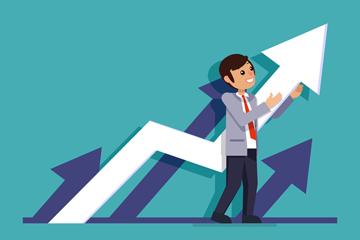 创意业务增长曲线和男子矢量图