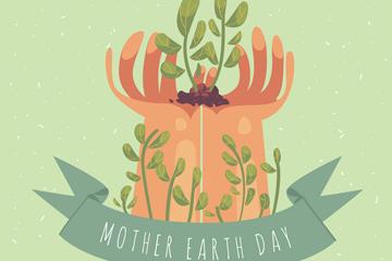 抽象世界地球日捧起树苗的手矢量