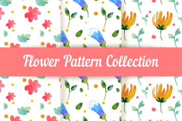 3款水彩绘花卉无缝背景矢量素材