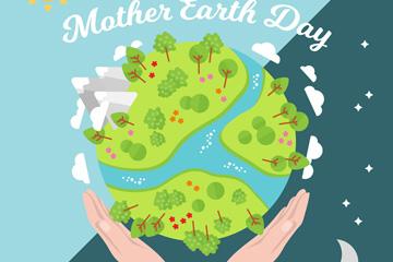 创意世界地球日绿色地球矢量素材