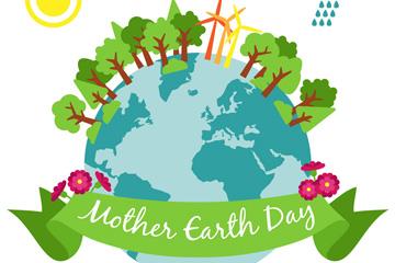 创意世界地球日树木地球矢量素材
