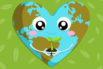 可爱手捧树苗的爱心地球矢量图