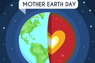 创意世界地球日爱心内核地球矢量图