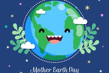 扁平化世界地球日笑脸地球矢量图