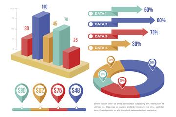 4款彩色扁平化信息图元素矢量图