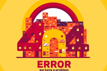 抽象404错误页面建筑矢量素材