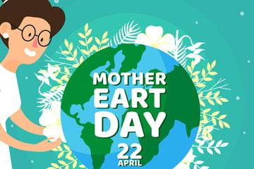 创意世界地球日女子和地球矢量图