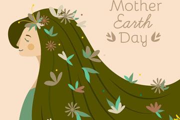 创意世界地球日长发女子矢量素材