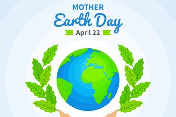 彩绘世界地球日树枝和地球矢量图