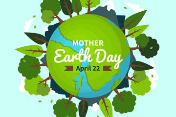 创意世界地球日长满树木的地球矢