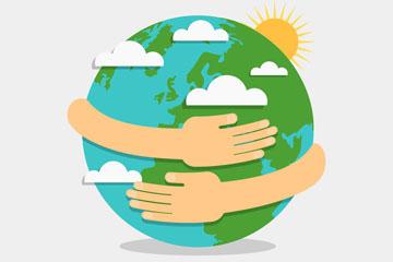 创意世界地球日怀抱地球的手臂矢