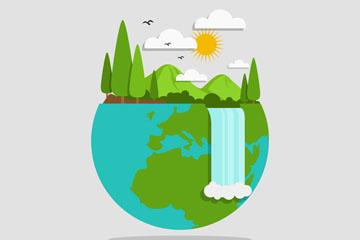 创意世界地球日自然瀑布风景矢量