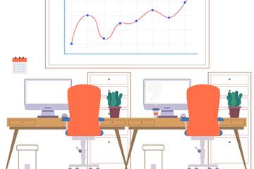 时尚商务会议室设计矢量素材