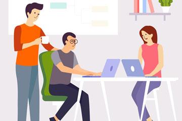 创意商务会议中的3个人物矢量图