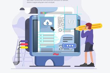 创意电脑程序员插画矢量素材