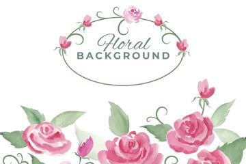 水彩绘粉色玫瑰花设计矢量图