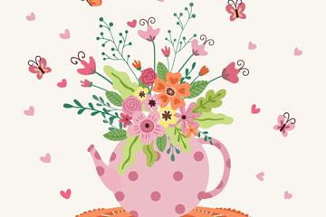 粉色水玉点水壶插花矢量素材