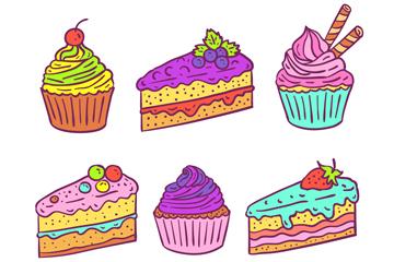6款彩色手绘甜点设计矢量素材