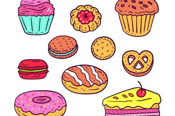 10款彩色手绘食物设计矢量素材