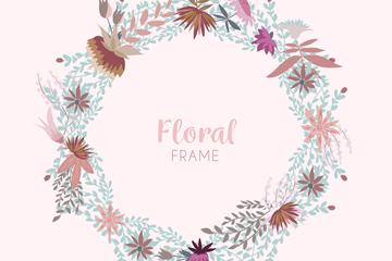 素色花卉框架设计矢量素材