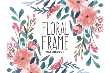 手绘粉色花卉框架设计矢量素材