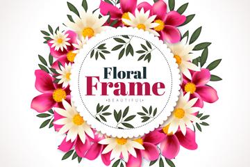 卡通粉色和白色花卉框架矢量图
