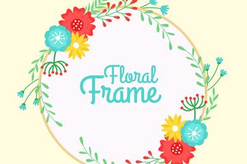 彩色花卉框架设计矢量素材