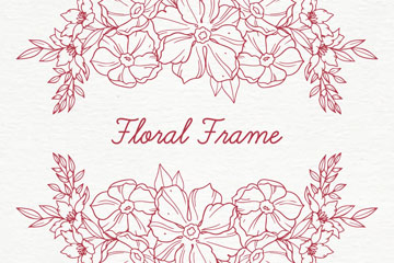 手绘花卉框架设计矢量素材