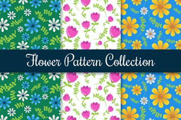 3款彩色花朵无缝背景矢量素材