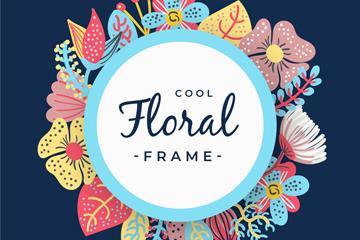 彩色斑点花卉框架矢量素材